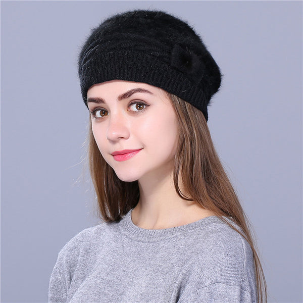 Xthree Winter Autumn beret hat for women knitted hat Rabbit fur beret  solid colors fashion lady cap