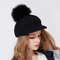 Xthree women's wool octagonal cap winter hat with visor fashion cap with Ostrich fur pom pom