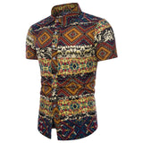 2018 Summer Men's Shirts Ethnic Short Sleeve Printing Chinese Style Button Fashion Shirt Tops Casual Slim Fit Camisa Masculina