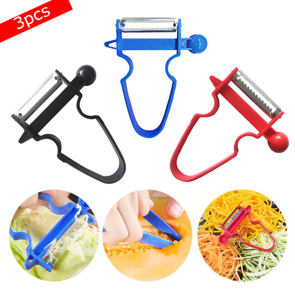 3 pcs Magic trio peeler Set Slicer Shredder Peeler Julienne Cutter Multi Peel Stainless Steel Blade Zesters Kitchen Tools Set