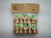 10 pcs/lot Succulent plants Wooden Clip Photo paper Clothespin Craft Clips Party Decoration Clip with Hemp Rope