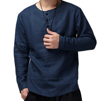 Casual Mens Vintage Shirts Cotton Linen Button O-Neck Long Sleeve Solid Loose Tops Retro Chinese Style Leisure Camisa Masculina