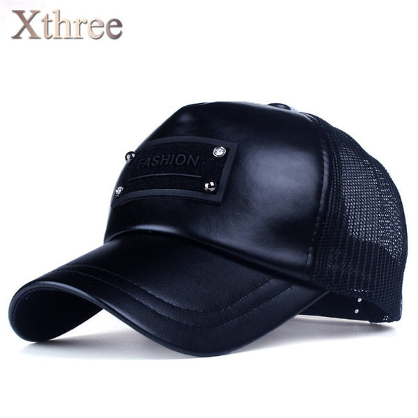 Xthree 5 panels fashion men  faux leather baseball cap women summer mesh cap snapback hat for girl bone gorras