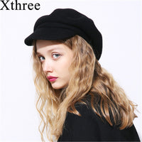 Xthree spring winter women cap wool knitted hat beret with Visors Skullie hat for men hat cap