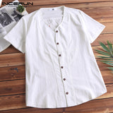 Chinese Style Solid Color Flax Linen Shirts Men Casual V-Neck Short Sleeve Shirt Tops Slim Fit Clothes Men 5XL camisa masculina