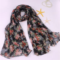 Elegant Women's Scarf Roses Flowers Print Scarf Cotton and Hemp Scarves Wraps Muslim Hijab Sun Protection Head Wraps 2Colors