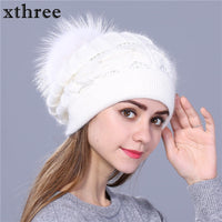 Xthree Winter Autumn beret hat for women knitted hat Rabbit fur beret with mink pom pom solid colors fashion lady cap