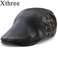 Xthree Fashion Faux Leather Beret hat casquette cap Hats for Men Visors Sun hat Gorras Planas Flat Caps PU