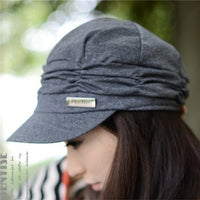 Winter Knitted Cap Solid Color chapeau Female Korean Style Pleated Peaked Sun Hat Autumn Warm 3Colors