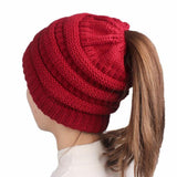 Winter Women's Knitting Cotton Solid Color Hat Earpiece Cap with A Hole Cap Stretchy Warm Hat Skullies & Beanies 6 Colors