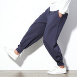 2018 Autumn Men's Casual Pants Baggy 100% Cotton Streetwear Hip-hop Harem Pants Solid Elastic Waist Vintage Loose Trousers S-3XL