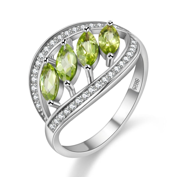 Almei Natural Green Peridot 925 Sterling Silver Leaves Rings for Women Ring with Stone Wedding Jewelry Velvet Gift Box FJ110