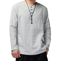 High Quality Classic Solid Shirts Men Dress Cotton Linen Long Sleeve Crew-Neck White Shirt Camisa Masculina Clothes Autumn