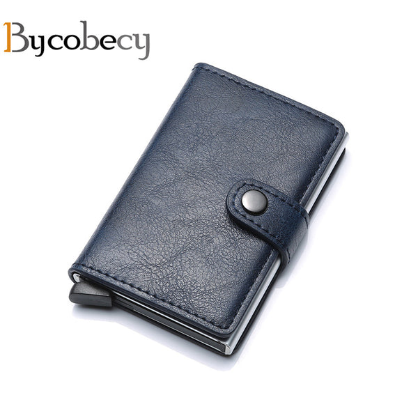 Bycobecy Business Card Holder RFID Aluminium Alloy Credit Card Case Metal Wallet Antitheft Wallets Automatic Pop Up Card Case