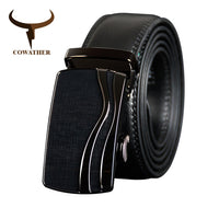 COWATHER Belt Cow Genuine Leather Belts for Men Vintage Male Cowhide Strap High Quality Metal Automatic Buckle Male Waistband