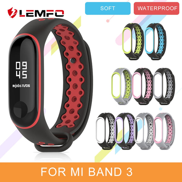 LEMFO Smart Accessories For Xiaomi Mi Band 3 Strap Replacement Waterproof Anti-Lost Double Color Silicone Bracelet For Men Women