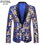 PYJTRL Men Stylish Shawl Lapel Royal Blue Velvet Slim Fit Blazer Plus Size 5XL Gold Floral Sequins DJ Singer Wedding Suit Jacket