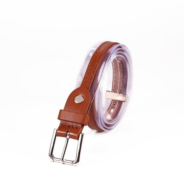 Leather Square Plastic Transparent Synthetic Alloy Buckle Women Adjustable Belt