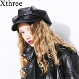Xthree Spring auturn PU leather women's hat cap fashion octagonal hat with visor girl hat