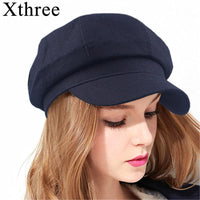 Xthree Spring summer cottoon linen women's hat cap fashion octagonal hat with visor girl hat