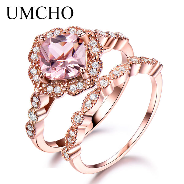 UMCHO 925 Sterling Silver Ring Female Morganite Engagement Wedding Band Bridal Set Vintage Stack Rings For Women Fine Jewelry