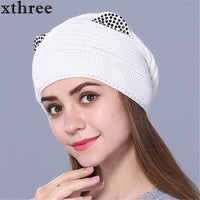 Xthree Wool Knitted Hat Women Warm Gravity Falls Cap Fashion Thick Hats For Girls cute kitty Skullies gorras