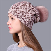 Xthree Warm wool winter Knitted Hat for Women girl Beanie Skullies china style Gravity Falls Cap Gorros fox fur pom pom hat