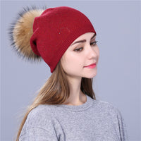 Xthree new Rhinestone Winter hat for women girl Warm Wool Knitted Beanie Skullie  Real Fur Pom Gorro Female Cap