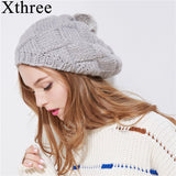 Xthree New winter hat for women knitted beret hat with rabbit fur pom pom girl solid fashion cap spring