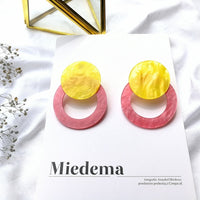 South Korea version acetate plate color acrylic sheet circle geometric green stud earrings female