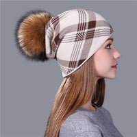 Xthree 2017 new plaid Knitted Hat for Women Winter Beanie Skullies Warm Gravity Falls Cap Real Fur Pom Wool Gorros Female Cap