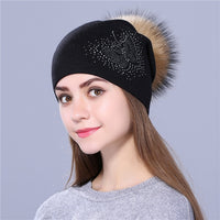 Xthree new Rhinestone embroidery Winter Wool Knitted Hat for Women Beanie Skullie Warm Cap Real Fur Pom Gorro Female Cap