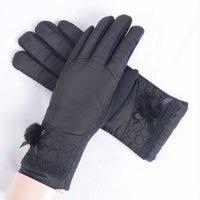 Women Winter Outdoor Warm Mitten Gloves Thick Bow Ball Lace Plush Ladies Windproof Anti Slip Touch Screen Fashion Moto Gloves