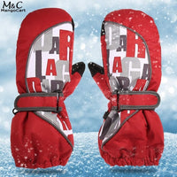 Cuff Letter Printed Thick Fleece Ski Gloves with Elastic Waterproof
