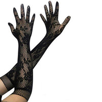 Sun UV Protection Gloves Sexy Floral Print Long Lace Gloves Women Mittens Lace Summer Ladies Gloves Black Red White