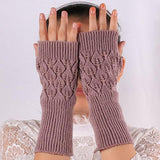 Fashion Women Ladies Fingerless Gloves Winter Warm Soft Knitted Mittens Long Gloves hollow out Leaves pattern Gloves