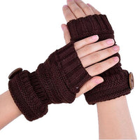 Classic popular Fashion Winter Knitted women gloves Warm Fingerless Gloves Women Button Wrist Soft Mittens handschoenen dames