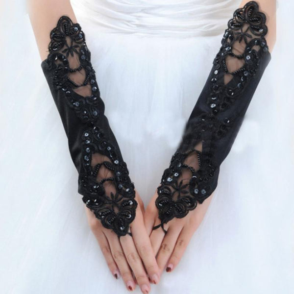1 pair Gloves Ladies Elegant Lace Long Gloves Stretch Fingerless embroidered Gloves