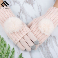 Evrfelan Winter Warm Glove For Women Mittens Touch Screen Gloves Girl Gloves Double Layer Separable Fingerless Thick Mittens