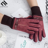 Evrfelan Fashion Men Women Winter Gloves Luxury Leather Gloves Thick Mittens  Male Motocicleta Thermal Warm Gloves Xmas Gifts