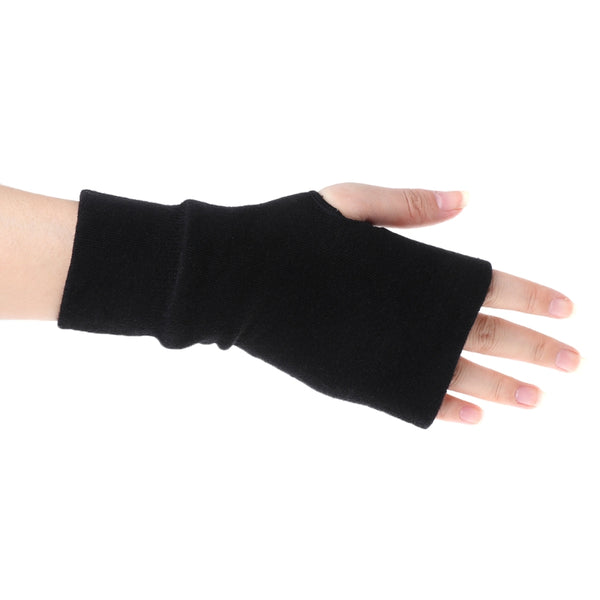 Fashion Unisex Men Women Black Knitted Fingerless Winter Gloves Soft Warm Mitten