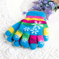 Autumn Winter Children S/M/L Thickened Snow Print Colored Yarn Knit Gloves