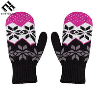 Women Winter Warm Knitted Thickened Stretchy Mittens Gloves Female Casual Covered Finger Warmers Gloves Women Accessories