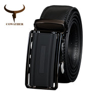 COWATHER Belts for Men Cow Genuine Leather Belt Vintage Male Cowhide Strap High Quality Metal Automatic Buckle Male Waistband