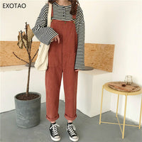 EXOTAO Corduroy Loose Casual Bodysuit for Female Retro Pocket Adjustable Lace Feminino Jumpsuits All Match Solid Lady Macacao