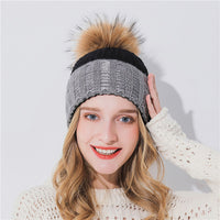 Xthree Cashmere Winter Hat For Women Girl Knitted Hat Keep Warm Beanies With Mink Fur Pom Pom Hat