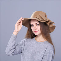 Xthree Fashion Vintage wool Wide-Brim Fedoras Hats for Women Bowler Floppy Feminino autumn Ladies cap