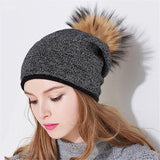 Xthree women winter hat wool knitted hat beanie with real mink fur pom poms Skullie hat for women girls hat cap feminino