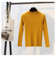 2018 Autumn Winter Women Pullovers Sweater Knitted Elasticity Casual Jumper Fashion Slim Turtleneck Warm Female Sweaters 9011