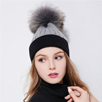 Xthree women's winter hat wool knitted hat beanies real raccoon fur pom poms Skullies hat for girls